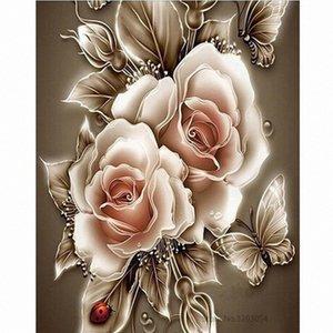 Chunxia encadrée bricolage Peinture par numéros Peinture acrylique Fleur Image Home Decor moderne pour Living Room 40x50cm RA3285 FzWt #