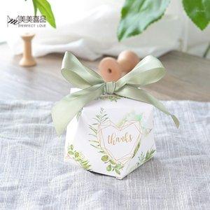 50 stücke Neue Diamantform Grüne Blätter Wald Stil Candy Box Hochzeit Gefälligkeiten und Geschenke Partei liefert danke Geschenkbox1