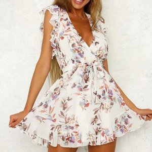 200 fashion sexy summer women's dress casual flowers printed ruffled deep V-neck swing mini dress
