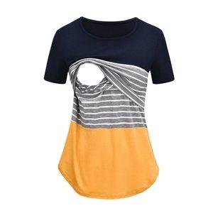 Lonsant Gebelik Üstleri Çizgili Patchwork Hemşirelik T-Shirt Üst Emzirme Hamile Giysileri Yeni 2020 LJ201123