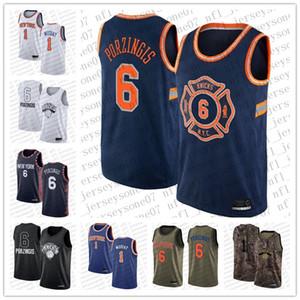 2020 мужчин женские молодежи Нью-ЙоркКолебание1 Emmanuel Mudiay # 6 Kristaps Porzingis Баскетбол Swingman IconИздание Пользовательские Джерси