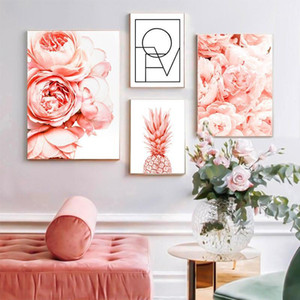 Scandinavian Peony Flowers Wall Art Canvas Painting Poster And Print Wall Pictures for Living Room Bedroom Home Decor No Frame1