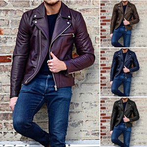 Men Autumn Winter New Style Imitation Leather Coats Clothing Leather Jacket Fold-down Collar PU Short Casual Male Streetwear
