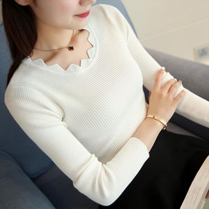 Korean Casual Women Pullover Knitted Sweaters O Neck Long Sleeve Elastic Sexy Slim Women Tops Pull Femme sueter mujer