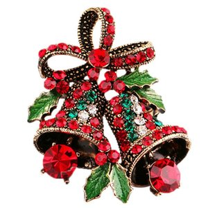Lovely Bow Bells Brooches For Women Christmas Suit Pins Vintage Creative Gift Jewelry Coat Dress Accessories