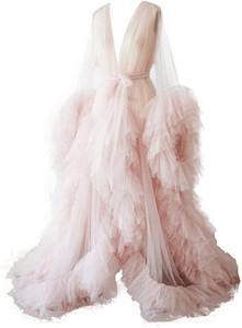 Badewunden Sexy Illusion Lange Dessous Tüll Robe Nachthemd Bademantel Nachtwäsche Bridal Robe Hochzeit Schal