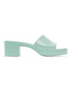 2020ss Женская мода мулов резиновые скольжения на пятки сандалии Slider платформы тапочки квадратный носок низкий блок каблук