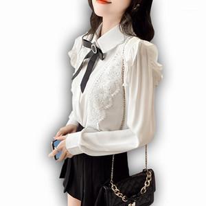 Foxmertor Chiffon Crava Donne Camicetta Autunno Manica lunga Solido Bianco Purflo Purflo Turndown Collare Camicie Femminile Soft Casual Ladies Tops1
