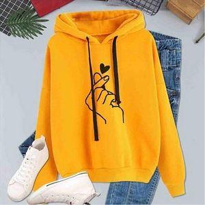 Fashion Drawstring Hoodies Women Hoodie Sweatshirt Kpop Finger Heart Love Pattern Hoodies Woman Ladies For Teen Girls