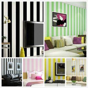 New Mediterranean Blue Simple Black Branco Vertical Striped Wallpaper TV Voltar Vermelho Amarelo Crianças Rosa Verde Quarto parede rolo Wallpape 25oD #