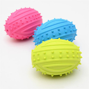 Dog Chew Squeaky Ball 3D Rugby Shape Pet Molar Biting Toy Puppy Interactive Training Rubber Sound Balls