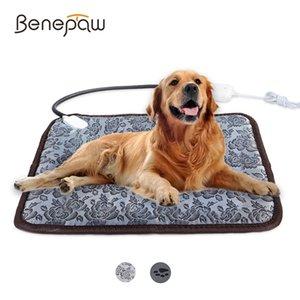 Benepaw Ajustável Almofada de Aquecimento para Cachorro Cat Cachorrinho Proteção Power-off Pet Elétrica Mat Mat Mat Impermeável Fio Resistente à Bebida T200330