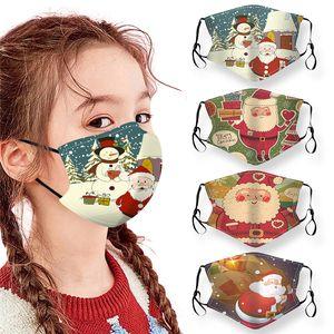 50PCS DHL للأطفال حفلة عيد الميلاد قناع أقنعة مكافحة الغبار واقية عيد الميلاد الوجه للأطفال قابل للغسل قناع قابل للتعديل