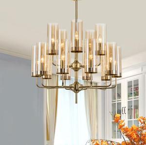 Modern  glass chandelier lighting 6-15 heads blue Cognac nordic hang lamp living dining room bedroom indoor light fixture