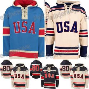 1980 Milagro en el equipo de EE.UU. hockey sobre hielo camisetas de hockey Jersey camisetas personalizadas cualquier nombre cualquier número cosido con capucha del suéter envío