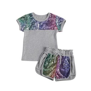 2021 Fashion Toddler Kids Baby Girl Summer Clothes Set 2pcs Casual Short Sleeve Tops T-shirt Sequins Shorts Outfits Set 2-7Y