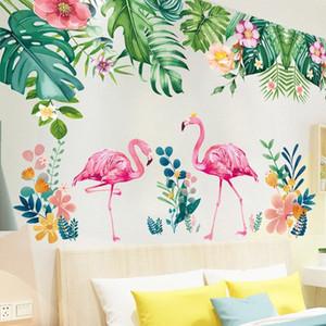 [Shijuekongjian] Flamenco Animales Wall Stickers bricolaje hojas de los árboles Mural Adhesivos para la habitación de los niños Sala de estar la decoración del hogar # N613