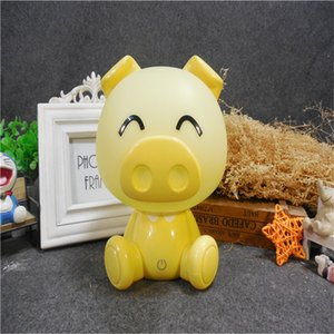 New cartoon three touch slide table lamp eye protection dimmer pig lamp bedroom children bedside night light