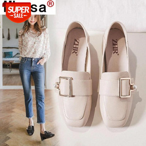 Summer New Women Pumps Metal Buckle Loafers Fashion Pearl Ladies Shoe Comfortable PU Slip-on Mid Heel Women Shoes Womans Shoes #s93y