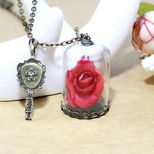 1PC Vintage Jewelry with Bronze Plated little Prince Dried Rose Flower Glass Wish Bottle Pendant Necklace for Women