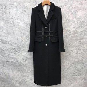 Vinatge Black Felted Длинные шерстяные пальто Женщины Slim Double Charding Office Lady Lady Plus Plus Размер
