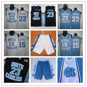 빈스 카터 UNC 저지, 노스 캐롤라이나 # 15 빈스 카터 블루 화이트 스티치 NCAA 대학 농구 유니폼, 자수 로고 반바지