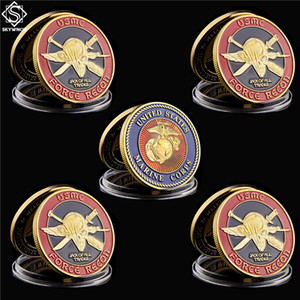 5pcs USA Challenge Coin Navy Marine Corps USMC Force Recon Military Craft Gift Gold Collection Regalos