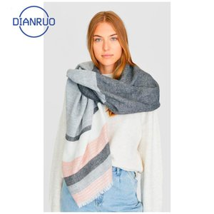 Linling caliente de la venta de otoño invierno de mujeres de la bufanda de acrílico mujer Pañuelos ancha larga a rayas del abrigo del mantón manta caliente Tippet N336 200930