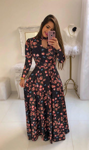 Plus Size 5XL Dresses Womens Designer Printing Longsleeve Dress Fashion Flower Pattern Ethnic Clothing 2020 New Girls V Neck Party66