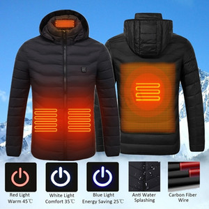 Men Winter USB Heating Jackets Smart Thermostat women Warm Hooded Heated Clothing Fever 4 places cotton-padded jacket 201026