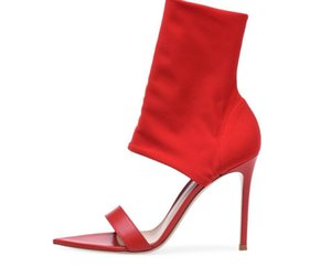 Hot Sexy Fashion Red Black Flock Peep Toe Shoes Thin Heels Mid-Calf Women's Sandals Big Size Women's Booots