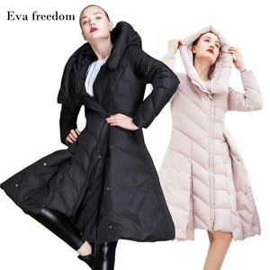 Eva liberté manteau de duvet femmes hiver doudoune à capuche mince grande veste la mode pendule jupe femmes à capuchon EF18006