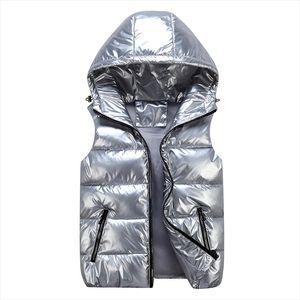Women Winter Vests Hooded 2020 New Short Bright Color Vest Cotton Padded Jacket Sleeveless Female Winter Waistcoat Vest