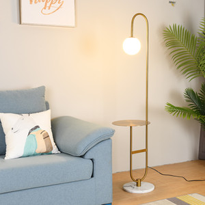 Modern Floor Lamp LED Standing Lamp With Round Table Art Deco Living Room Sofa Reading Lights Hotel Bedroom Bedside Lights