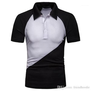 Tops Patchwork Contrast Color Mens Polos Summer Lapel Neck Short Sleeve Mens Tees Casual Teenagers Mens