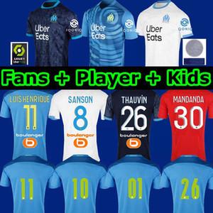 Olympique De Marseille Maillot OM Fußball-Trikot Herren Kinder 2020 Maillot De Fuß 20 21 THAUVIN Benedetto dritte AMAVI Fußball-Hemd ÁLVARO