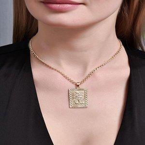 ALYXUY Fashion Gold Square Dragon Personality Pendant Chinese Ethnic Zodiac Necklace Mascot Ornaments Jewelry Women Girls Gift
