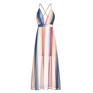 Bohemia V Neck Slip Dress Colorful Backless Cross Bandage Long Dress Shoulder Straps Maxi Dresses women dresses women summer clothes 2020