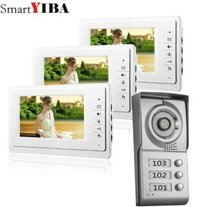 "Smartyiba 7 ""Video Intercom Apartment Door Door System 3 White Monitors 1 HD كاميرا لمدة 3 وحدة سكنية"