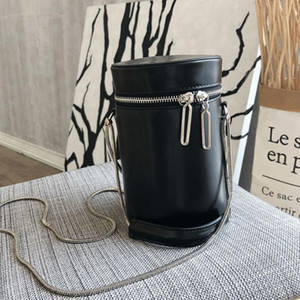 Luxurious2019 Chic Bag Cylinder Concise Case Joker Mini Single Shoulder Span Chain Bucket Package
