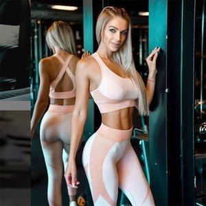 Mujeres Set de yoga Set Soft Elastic Sportswear Yoga Traje Inconsútil Gimnasio sin espalda Trajes de ropa para ejercicios de ejercicios de fitness Suministros de yoga Y200904
