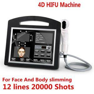 Profissional 3D 4D Hifu 12 linhas 20000 Tiros de alta intensidade Focado ultra-som Hifu face elevador máquina de enrugamento da máquina para o corpo do corpo do corpo