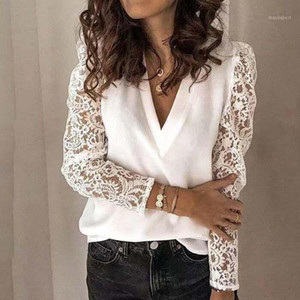Large size chiffon women blouses 2020 summer new women blouses tops casual V-neck long sleeve high quality lace shirts1