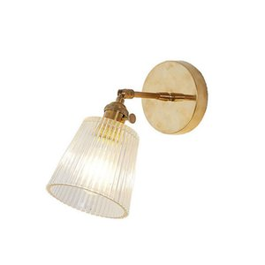 Vidro Lamp Modern Transparente Sconce Lighting Nordic parede Copper Clara Luz Retro Abajur Para Quarto 1022