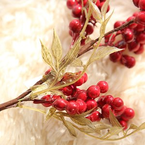 NewFake DIY Artificial Branch Plastic 1 Bunch Flowers Leaf Decorative Red Berries Plant For New Year Christmas Decorations