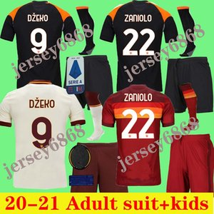 Kit para adultos 2020 2021 Roma Home Dzeko Jersey de Rossi de distancia Hombre Jersey White Jersey Tercera pastore azul Niños Jersey Roma Adultos Kits + Calcetines Kit para hombres