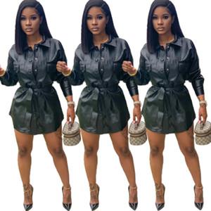 2021 женщин PU способа куртки пояса высокого кожаные куртки Femme однобортный куртки Новый стиль Outfit