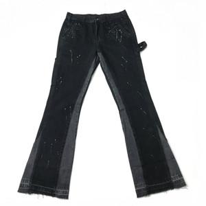 Hommes Washed Jeans Slim Noir Multicolor Peinture Streetwear dongguan_ss