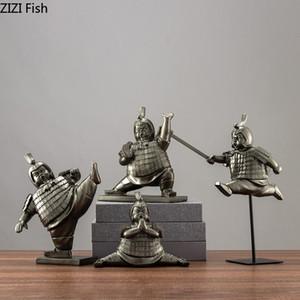 Çin Retro Terracotta Ordusu Camp Heykel Dekorasyon Modern Salon Büro Masaüstü Dekor Reçine Bronz Heykel El Sanatları
