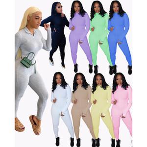 Kadınlar Desinger Tulumlar Bodysuit Egzersiz Yüksek Yaka Sıska Mektup Baskı Fermuar Spor Kıyafetler Bayanlar Sportwear Uzun Onesies 2021